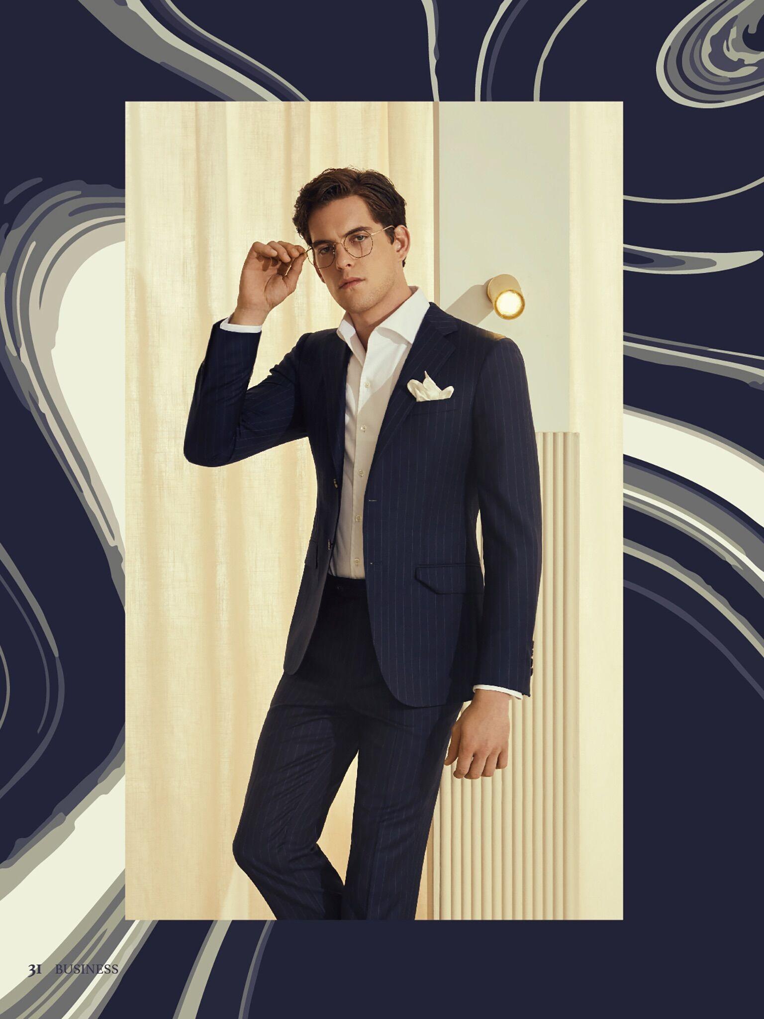 高级纯色条纹西服套装量身定制