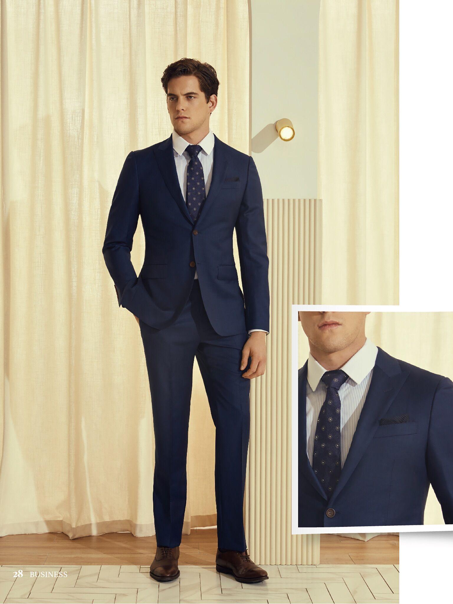 高级纯色单排扣西服套装量身定制